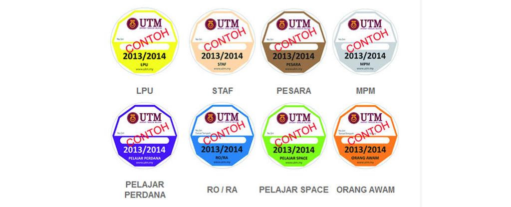 Penjualan Pelekat Kenderaan UTM Sesi 2013/2014