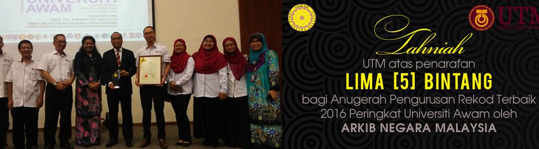 Penarafan 5 Bintang UTM oleh Arkib Negara Malaysia